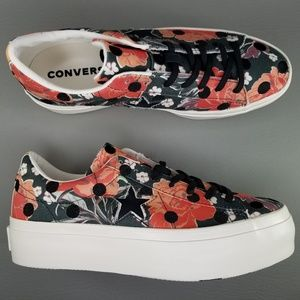 Converse One Star Platform Low Floral Shoes 9.5